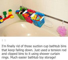 bathtub toy storage using tension rod and buckets; nice concept, I think I can class it up a bit more though; tension rod available at masters Bathroom Kids, Kids Bath, Master Bathroom, Pirate Bathroom, Shared Bathroom, Downstairs Bathroom, Bathtub Toy Storage, Bathroom Storage, Shower Storage