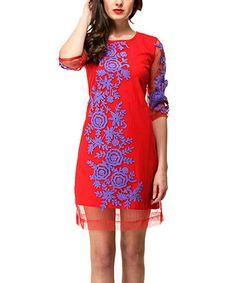 Love this Crimson Sheer Floral Shift Dress by Almatrichi on #zulily! #zulilyfinds