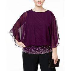 Msk Plus Size Embellished Chiffon Blouse ($69) ❤ liked on Polyvore featuring plus size women's fashion, plus size clothing, plus size tops, plus size blouses, luxe plum, chiffon blouse, chiffon sleeve blouse, embellished top, plum blouse and purple blouse