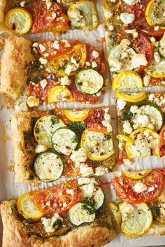 Vegetable Pesto Puff Pastry Tart Layers of veggies, feta cheese, and pesto sit atop buttery puff pastry. Tart Recipes, Veggie Recipes, Dinner Recipes, Summer Vegetable Recipes, Dinner Ideas, Meatless Recipes, Dinner Entrees, Dinner Options, Gf Recipes