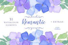 Watercolor Hydrangeas Clipart SET by Essem Creatives on @creativemarket