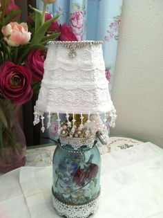 Memories from the past, Oh so Shabby Chic Lamp!!! I just finished this and it turned out so pretty. Put your own memories in this mason Jar!! SOLD