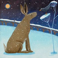 """Blackburd's Story"" ....it's feeling a bit wintry out there! A hare talks to a blackbird from an original work by Ailsa Black Scottish artist."