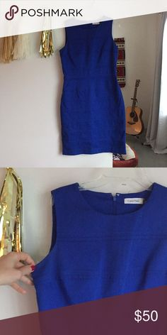 Calvin Klein women's sheath dress Beautiful work dress in a deep royal blue color. Hits at the knee. Calvin Klein Dresses