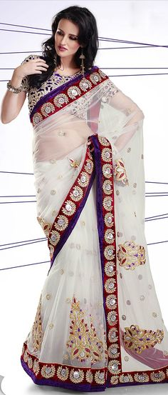 Off #White Net #Saree With Blouse @ $176.08