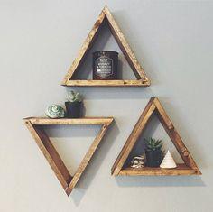 SINGLE Wood Triangle Shelf, Geometric Wall Shelf, Boho Decor, Rustic Wall Decor, Crystal Display Shelf, Gray Triangle Shelf, Gallery Wall by RoughxTumbled on Etsy https://www.etsy.com/listing/460487928/single-wood-triangle-shelf-geometric