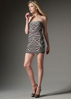 Herve Leger Black Geometric Print Mini Dress