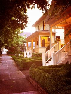 a beautiful old neighborhood - with trees and porches and well kept yards