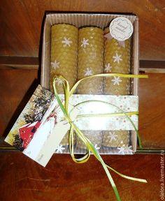 Купить Новогодние наборы свечей из вощины - желтый, свечи ручной работы, Свечи из вощины, подарок