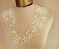 Your place to buy and sell all things handmade Irish Lace, Lace Collar, Vintage Textiles, Off White, Take That, Delicate, Shapes, Couples, Antiques