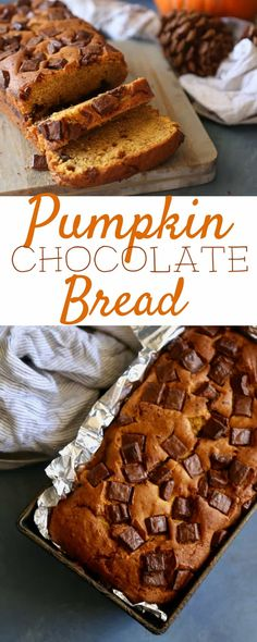 This Chocolate Chip Pumpkin Bread is a Fall must have. With it's sweet aromas baking and delicious texture it is the perfect Halloween treat or Thanksgiving dessert! Pumpkin Recipes, Fall Recipes, Fall Desserts, Delicious Desserts, Baking Recipes, Dessert Recipes, Dessert Bread, Christmas Bread, Holiday Bread