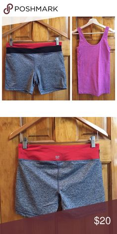 "Set of Running Top and Bottom Size:S GREAT Condtn Set of running/exercise top and bottom Size:S(bottom) M(top) // Bottom: Waist: 14"" Inseam:4"" Length:12"" // Top: Width: 14"" (underarms unstreteched when laod flat) Length: 25"" unstretched // Condition: Great. //The top has its own soft bra inside // bottoms have a key pocket // 15% off on bundles. // I ship same-day from pet/smoke-free home. Buy with confidence. I am a top seller with over 300 5-star ratings and A LOT of love notes! ❤️ Check…"