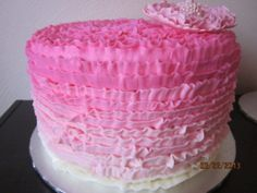 Ombre ruffled cake