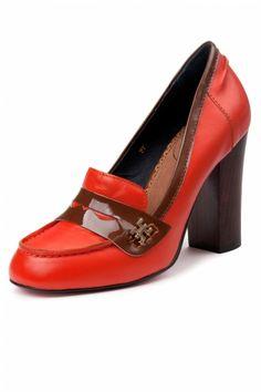 444b3058b0d489 Edith   Ella - 60s Vintage Orange College pumps Heeled Loafers