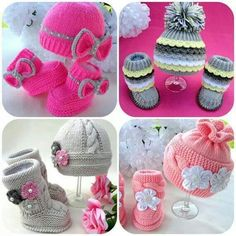 Cute baby girl knits hats and booties