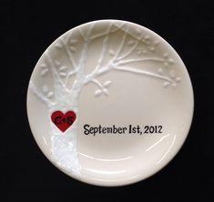 Engagement, Wedding gift - Personalized Hand Painted Ceramic Ring Dish, ring holder- Anniversary, Valentine's Day by PurpleGiraffeCeramic on Etsy