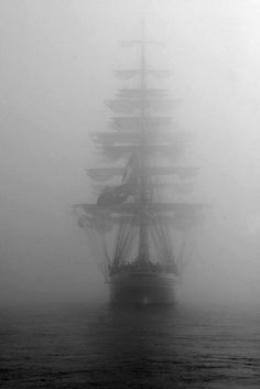 Ghost Ship- Wooden Warship in Heavy Fog. Bateau Pirate, Old Sailing Ships, Ocean Sailing, Ship Paintings, Ghost Ship, Boat Art, Pirate Life, Pirate Art, Ship Art