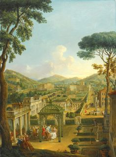 Giovanni Paolo Panini PIACENZA 1691 - 1765 ROME AN EXTENSIVE LANDSCAPE WITH VILLAS AND FIGURES, INCLUDING THE ARTIST HIMSELF, DINING BENEATH A PERGOLA IN THE FOREGROUND