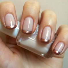 This rose gold #french #manicure is really cute and very simple to do at home.