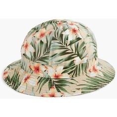 J.Crew Bucket hat in tropical print (1.022.805 VND) ❤ liked on Polyvore featuring men's fashion, men's accessories, men's hats, mens beach hats and mens beach bucket hat