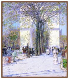 The Arch in Washington Square Park by American Impressionist Painter Childe Hassam Counted Cross Stitch or Counted Needlepoint Pattern