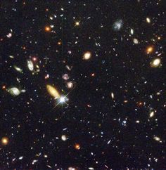 Hubble deep field image showing many galaxies.