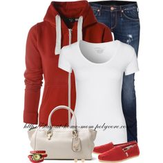 """AX Paris Red Hoody & Red Toms!"" by stay-at-home-mom on Polyvore"