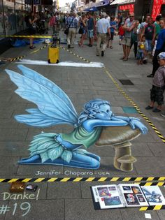 """Forest Fairy"" 3D anamorphic street painting - tempera paint and chalk - about 8' x 20'. Wilhelmshaven, Germany, 2014."