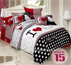 100% Cotton 4 Pcs Hello Kitty Bedding Set King/Queen/Twin Size Bed