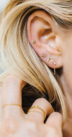 Jewels: moon sun earrings ear studs moon and sun gold jewelry stacked jewelry ear piercings gold