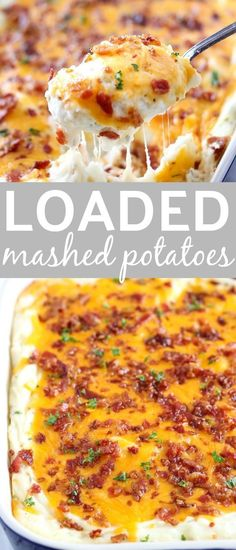 Cheesy Potato Casserole Loaded Cheesy Potato Casserole is our favorite side dish for the holidays. SO good and everyone loves it! Loaded Cheesy Potato Casserole is our favorite side dish for the holidays. SO good and everyone loves it! Loaded Mashed Potatoes, Cheesy Potatoes, Loaded Potato, Potatoes Crockpot, Baked Potatoes, Cheesy Potato Casserole, Dinner Side Dishes, Rib Side Dishes, Potato Side Dishes