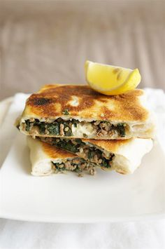 Gozleme with Minced Beef, Feta Cheese and Silverbeet. By Cakelets and Doilies.