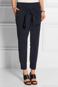 Tibi   Tie-front seersucker stretch cotton-blend tapered pants   NET-A-PORTER.COM