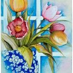 Embrace Spring with this painted wooden plaque that highlights tulips, featuring them in a sunny window. Decorative painting.
