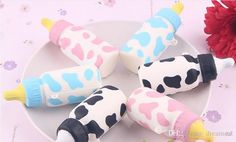 NEW! Kawaii rare squishy mini cow bottle colorful squishy 10CM Phone Straps/bag charms slow rising Wholesale