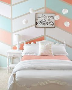 Home Girls room herringbone wall, coral, turquoise, grey, white Coral Girls Rooms, Pink Bedroom For Girls, Girl Rooms, Girls Bedroom Turquoise, Pink Bedroom Decor, Girl Bedroom Walls, Girl Bedroom Decorations, Grey Coral Bedroom, Coral Room Decor