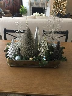 Christmas Lanterns, Mini Christmas Tree, Christmas Tablescapes, Christmas Centerpieces, Christmas Themes, Winter Christmas, Christmas Tree Decorations, Holiday Decor, Rustic Winter Decor