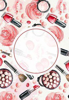 Beauty Cosmetics Vector Watercolor Painted Background - Makeup Tips Makeup Backgrounds, Makeup Wallpapers, Instagram Design, Free Instagram, Instagram Story, Brush Drawing, Drawing Art, Makeup Drawing, Makeup Illustration