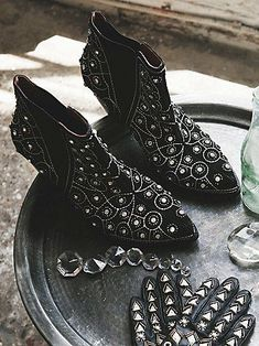 After Dark Boot Style: 33791781 These pull-on ankle boots are diamond dazzlers. Bejeweled to the max, these black suede shoes have a western-inspired shape and star quality. Pointy toes and wood heels with a purpose. Elastic gussets for easy on-off. Bootie Boots, Shoe Boots, Ankle Boots, Fall Booties, Crazy Shoes, Me Too Shoes, Oxfords, Looks Style, My Style