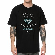 """Rise and shine in the Royal Trucks x Diamond Supply black tee shirt. This shimmering black tee for guys has a quality fit, 100% cotton construction, Royal x Diamond white and mint graphic at the chest and is tagless for your comfort. You will """"shine like Royalty"""" in the Royal Trucks x Diamond Supply black tee shirt every time you wear it."""