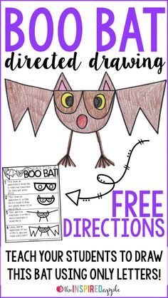 How Fun Is This Super Simple Directed Drawing Activity? Encourage Your Students To Make This Sweet Little Bat Using Only Six Letters From The Alphabet Check Out The Post To Snag A Copy Of The Directions For Free Halloween Activities, Autumn Activities, Bat Activities For Kids, Preschool Halloween, Library Activities, Fall Preschool, Steam Activities, Preschool Ideas, Learning Activities