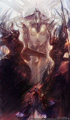 The Warring Triad (Fiend, Goddess, Demon) (FFVI) Official illustration from Final Fantasy XIV