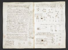 f. 43v, displayed as an open bifolium with f. 42: notes and diagrams