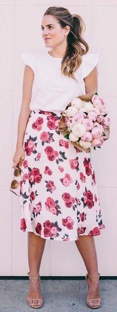 White Blouse + Rose Print Skirt