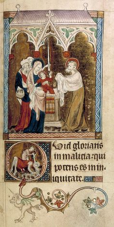 From the Queen Mary Psalter of 1310-20. Mary presents the child in the Temple to a nimbed Simeon. Joseph stands behind with a basket containing three doves. A woman behind holds up a long taper. In the initial 'Q' below of Psalm 51 David beheads Goliath. Below, in the lower margin tinted drawing, a grotesque form of human head with single (unicorn) horn, long ears, and the hind quarters of a winged beast with claws