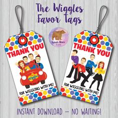 Wiggles Favor Tags, Wiggles Thank You Tags, Wiggles Party Decoration, Wiggles Favors, Wiggles Birthd Wiggles Party, Wiggles Birthday, The Wiggles, Baby Birthday, Birthday Cakes, October Birthday, 4th Birthday Parties, Birthday Ideas, Emma Wiggle