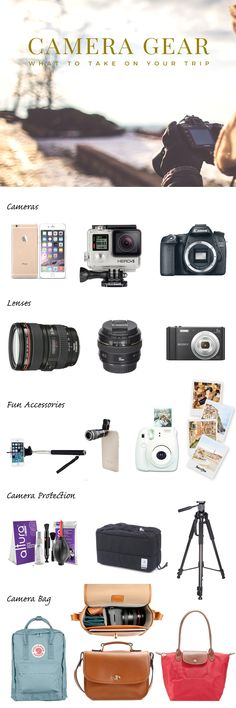 The best camera gear for travel. Everything you need for pictures when you're travelling. From the camera body, to lenses, to tripods. Brands like Canon and Ona will help you get the best photo.