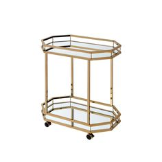 Acme Furniture Lacole Mirror and Champagne Serving Cart-98197 - The Home Depot