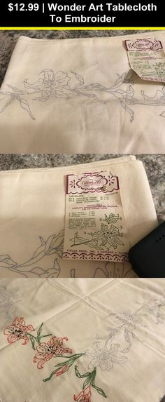 "Tobin Stamped Tablecloth WILD ROSE 58/"" x 104/""   Embroidery /& Cross Stitch"