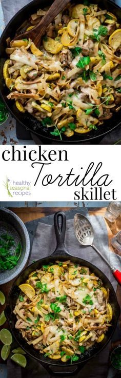 Chicken Tortilla Skillet with Cheesy Chicken, Tortilla Strips and Summer Squash on Healthy Seasonal Recipes. Chicken Tortilla Skillet with Cheesy Chicken, Tortilla Strips and Summer Squash on Healthy Seasonal Recipes. Healthy Food List, Healthy Chicken Recipes, Mexican Food Recipes, Whole Food Recipes, Cooking Recipes, Cheese Recipes, Cooking Ideas, Meat Recipes, Drink Recipes